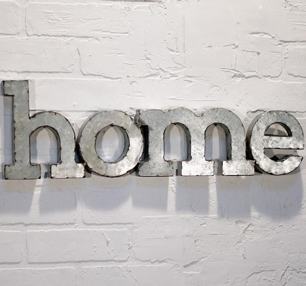 "Metal Word Wall Art – ""home"" – Miami  Antique Farmhouse Throughout Metal Word Wall Art (Image 14 of 20)"