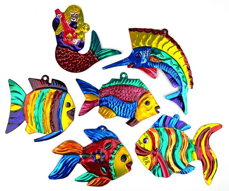 Mexican Painted Tin Fish & Mermaid Ornaments – Set Of 6 Within Mexican Metal Art (View 19 of 20)