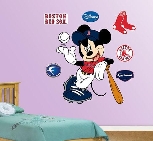 Mickey Mouse – Boston Red Sox Wall Decals – Order Disney Wall Intended For Red Sox Wall Decals (View 7 of 20)