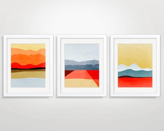 Mid Century Modern Art Abstract Art Print Modern Wall Art With Wall Art Print Sets (View 15 of 20)