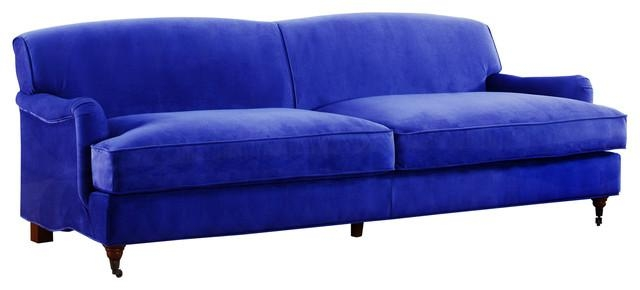 Mid Century Modern Sophisticated Large Brush Microfiber Sofa With Pertaining To Casters Sofas (Image 14 of 20)