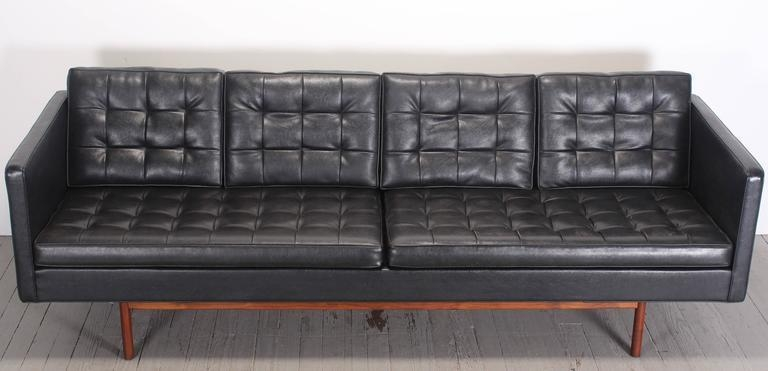 Milo Baughman For Thayer Coggin Black Vinyl Sofa, 1960S At 1Stdibs Throughout Black Vinyl Sofas (Image 18 of 20)