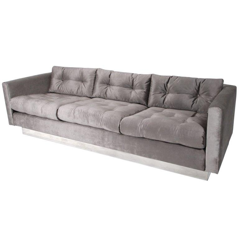 Milo Baughman Tufted Silver Silk Velvet And Chrome Base Sofa At With Regard To Silver Tufted Sofas (View 6 of 20)
