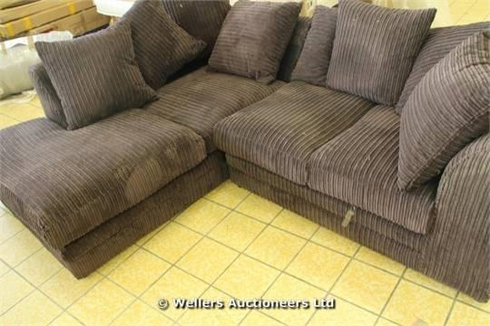 Milo Lh Full Metropolis Chocolate Brown Corduroy Style Fabric With Brown Corduroy Sofas (Image 12 of 20)
