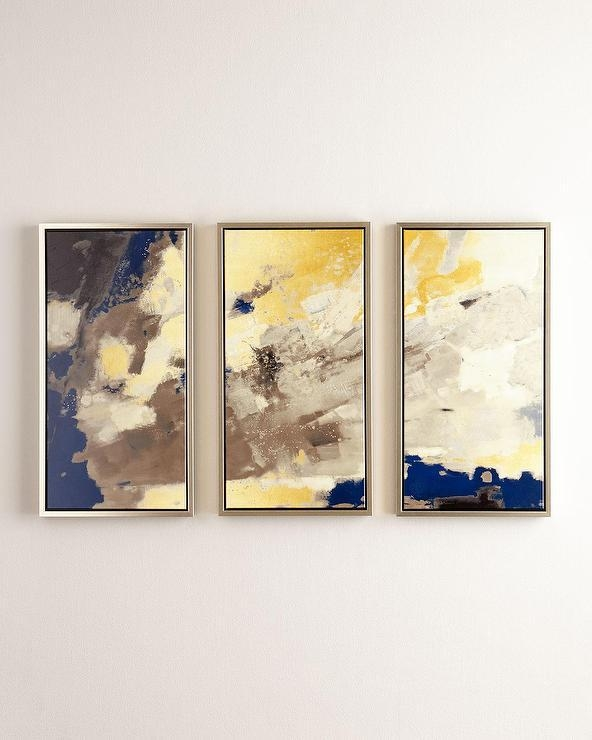 Minds Eye Blue Gray Abstract Wall Art In Yellow And Blue Wall Art (Image 14 of 20)