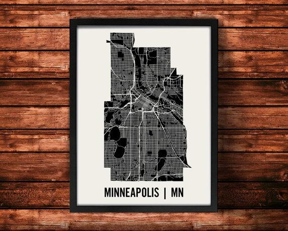 Minneapolis Map Art Print Minneapolis Print Minneapolis Regarding Minneapolis Wall Art (View 16 of 20)