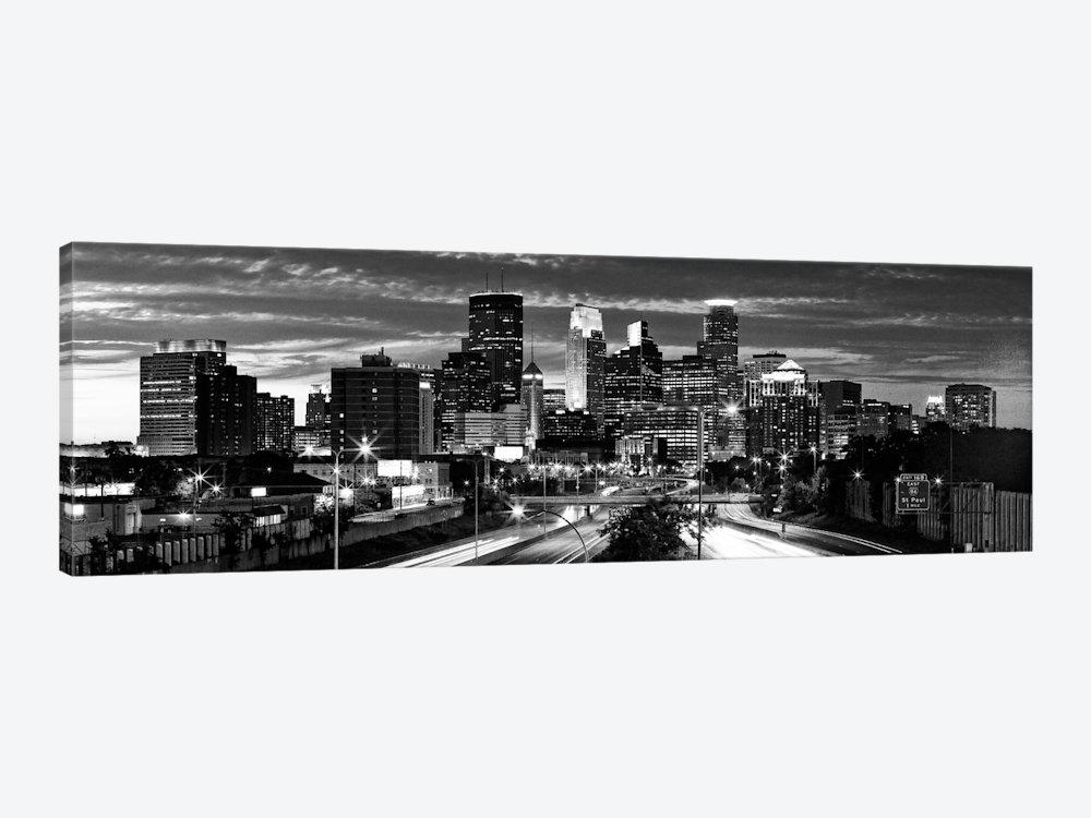 Minneapolis Panoramic Skyline Cityscape (Black & White – Eveni In Cityscape Canvas Wall Art (Image 10 of 20)