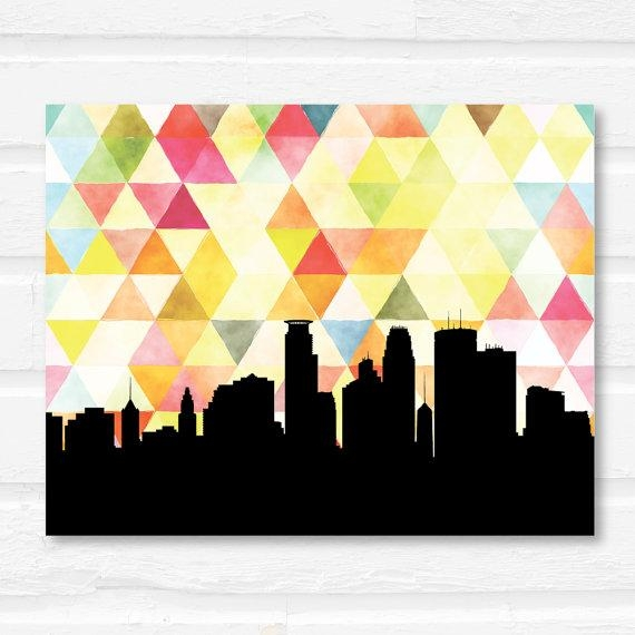 Minneapolis Skyline Minneapolis Art Print Geometric Art With Regard To Minneapolis Wall Art (Image 16 of 20)