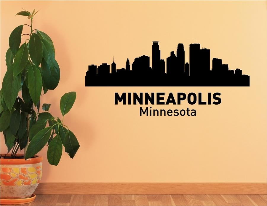 Minnesota City Skyline Vinyl Wall Art Decal Sticker Intended For Minneapolis Wall Art (Image 17 of 20)