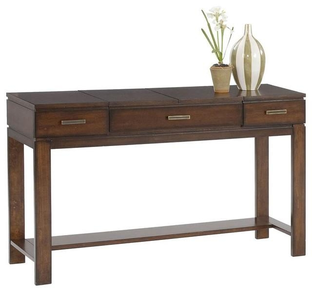 Miramar Contemporary Cherry Birch Wood Sofa Table/desk With Cherry Wood Sofa Tables (Image 9 of 20)
