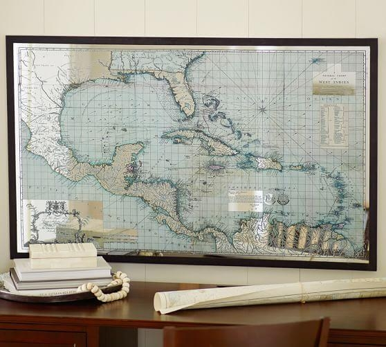 Mirror Map Wall Art | Pottery Barn In Maps For Wall Art (Image 13 of 20)