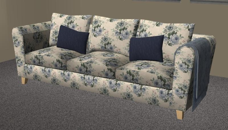 Mod The Sims – Blue Floral Seating Set With Regard To Floral Sofas (Image 18 of 20)