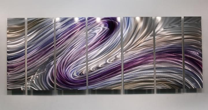 Modern Abstract Purple/silver Painting Metal Wall Art Decor Wild Within Purple Wall Art (Image 11 of 20)