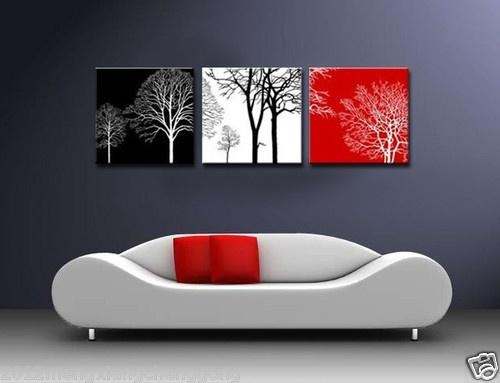 Modern Abstract Wall Canvas Art Oil Painting Black White Red Tree Pertaining To Black White And Red Wall Art (View 19 of 20)