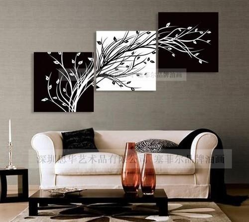 Modern Abstract Wall Canvas Art Oil Painting Black White Red Tree Pertaining To Black White And Red Wall Art (View 14 of 20)