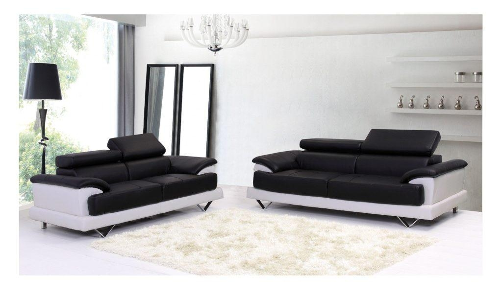 Modern Black And White Leather Sectional Sofa With Minimalist Throughout Black And White Leather Sofas (Image 15 of 20)