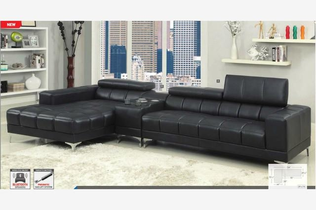 Modern Black Leather Sectional Sofa Chaise Console Bluetooth Speaker Within Sofas With Console (Image 8 of 20)