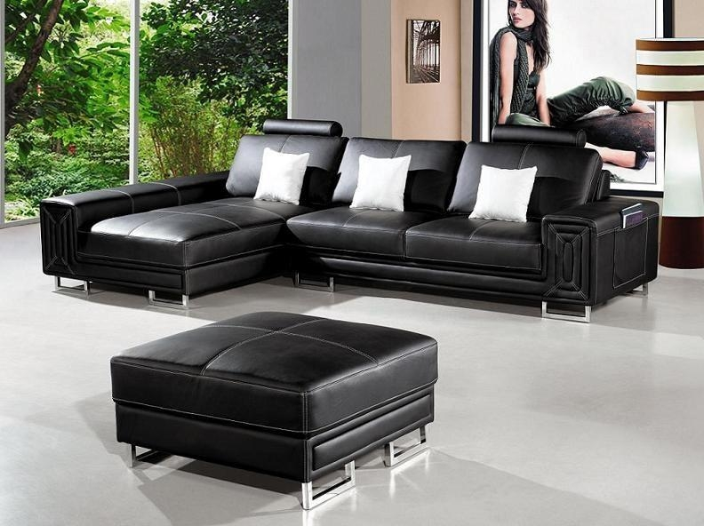 Modern Black Leather Sectional Sofa Troy | Leather Sectionals Within Black Modern Sectional Sofas (Image 13 of 20)