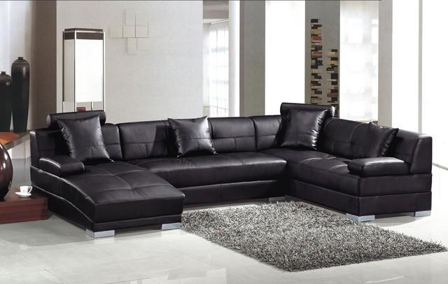 Modern Black Leather U Shape Sectional Sofa With Chaise – Modern Within Black Leather Chaise Sofas (View 3 of 20)
