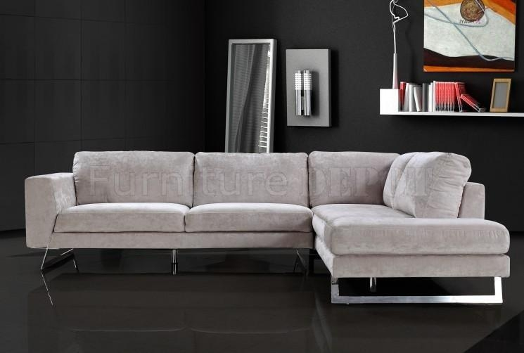 Modern Black Microfiber Sectional Sofa: 14 Excellent Modern Within Sofas With Chrome Legs (Image 10 of 20)