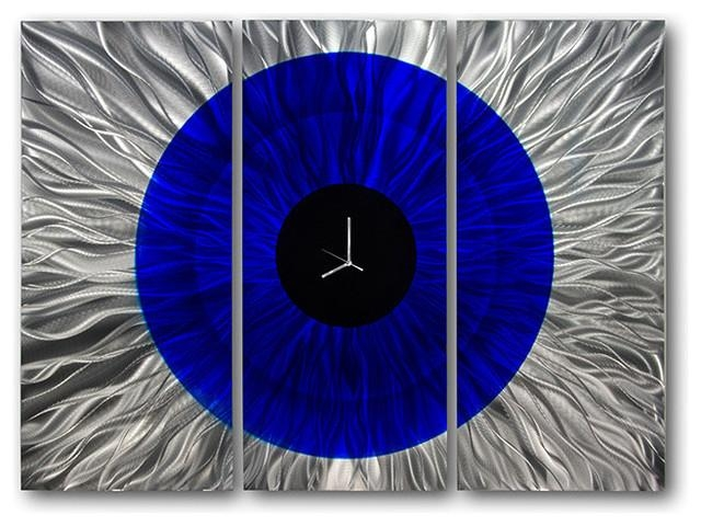 Modern Blue And Silver Wall Clock – Metal Wall Art Sculpture Pertaining To Blue And Silver Wall Art (Image 14 of 20)