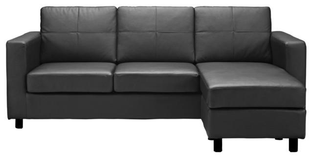 Modern Bonded Leather Sectional Sofa, Small Space Configurable With Modern Small Sectional Sofas (Image 4 of 20)