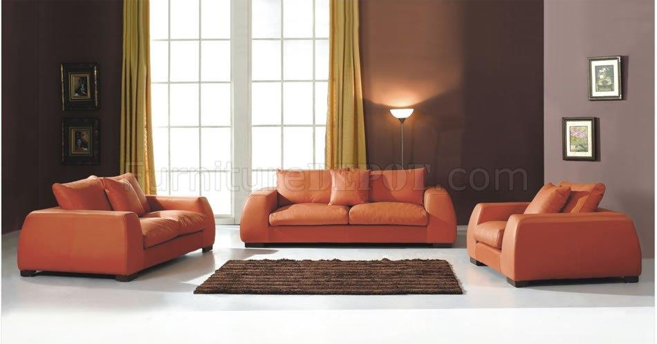 Modern Burnt Orange Living Room Sofa In Burnt Orange Leather Sofas (View 14 of 20)