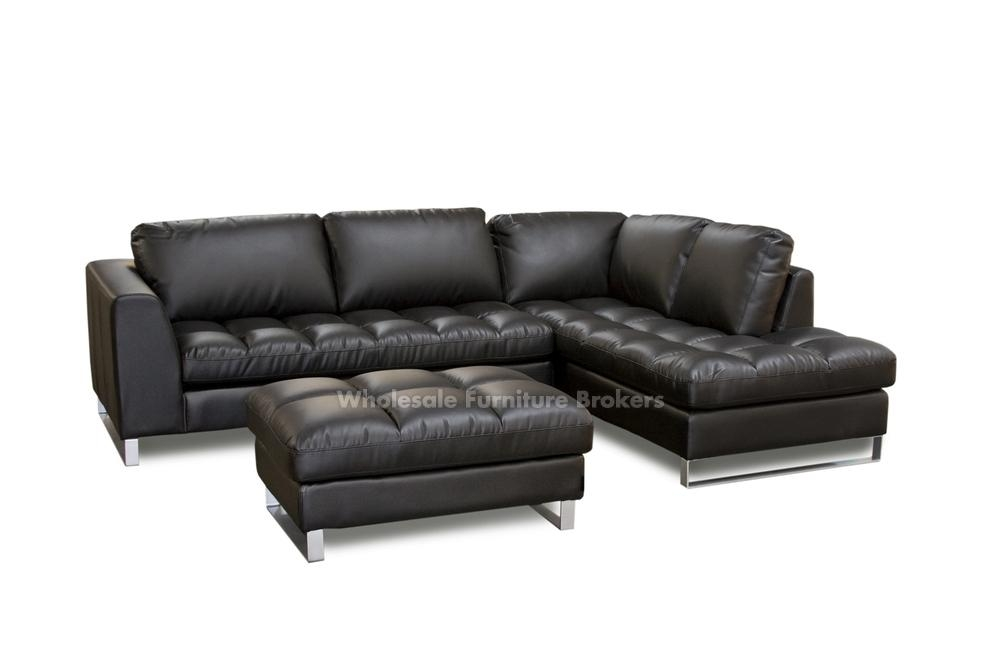 Modern Concept Black Leather Sofa With Chaise And Valentino Black Within Black Leather Chaise Sofas (View 14 of 20)