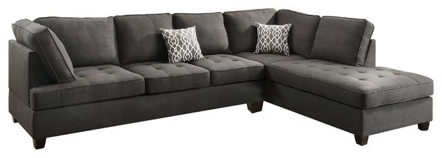 Modern Contemporary Sectional Sofa With Reversible Chaise With Charcoal Gray Sectional Sofas (Image 16 of 20)