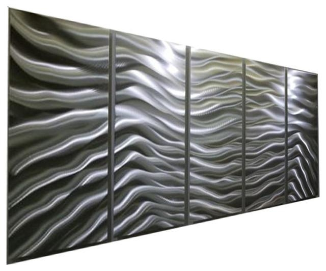 Modern Contemporary Versatile Silver Panel Metal Wall Art, Silver With Metallic Wall Art (Image 17 of 20)