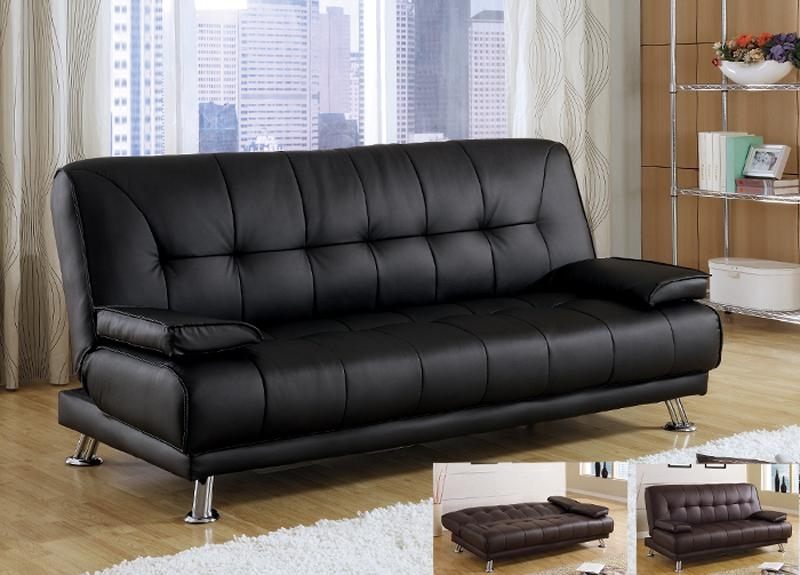 Modern Cozy Black Bycast Leather Removable Armrests Futon Sofa Bed Regarding Leather Fouton Sofas (Image 18 of 20)