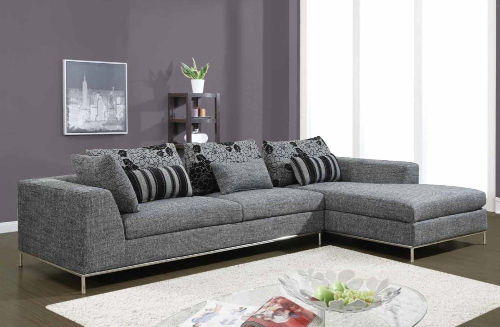 Modern Gray Fabric 2 Piece Sectional With Chrome Frame And Legs Pertaining To Sofas With Chrome Legs (Image 11 of 20)