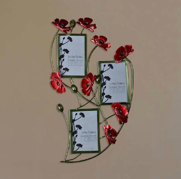 Modern Home Decoration Metal Wall Art Hand Made Red Popy Flower Inside Red Flower Metal Wall Art (Image 13 of 20)