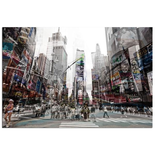 Modern Home Tempered Glass Ultra High Resolution 3D Times Square Intended For Modern Glass Wall Art (Image 12 of 20)