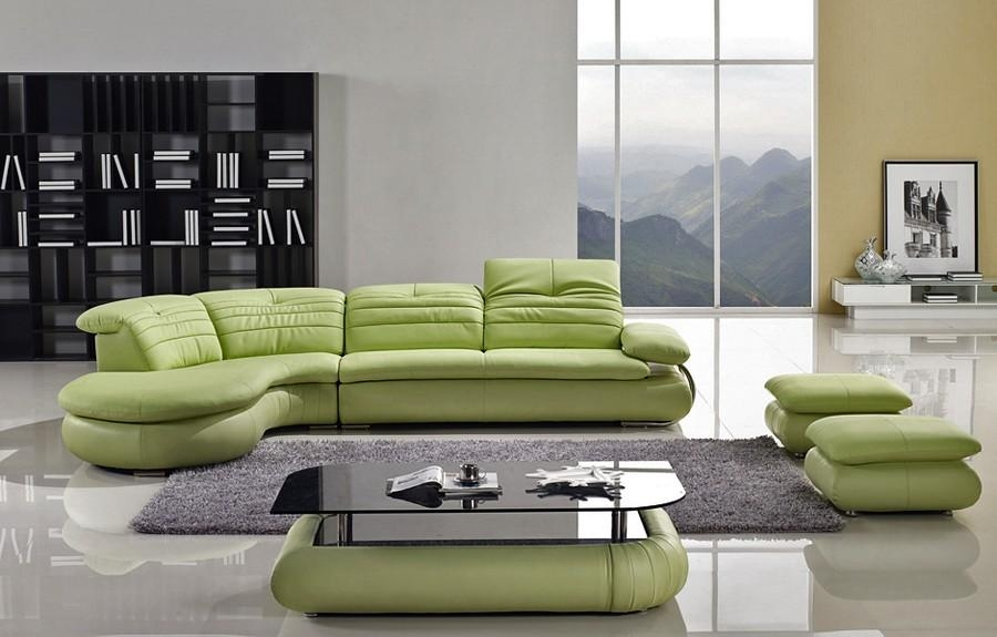 Modern Leather Sectional Sofa Furnitureherpowerhustle With Regard To Green Leather Sectional Sofas (Image 18 of 20)
