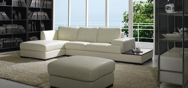 Modern Low Profile Sectional Sofa In White Leather – Modern With Low Height Sofas (Image 14 of 20)