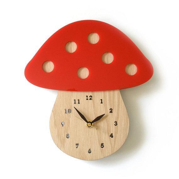Modern Mushroom Wall Clock Red In Mushroom Wall Art (Image 12 of 20)
