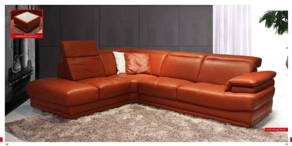 Modern Orange Sectional Leather Sofa Corner Sectional Leather Sofa Inside Burnt Orange Leather Sofas (View 7 of 20)