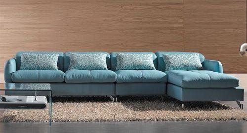 Modern Sectional Sofa, Light Blue Color | Sofa Bed | Sectionals With Regard To Blue Leather Sectional Sofas (Image 12 of 20)