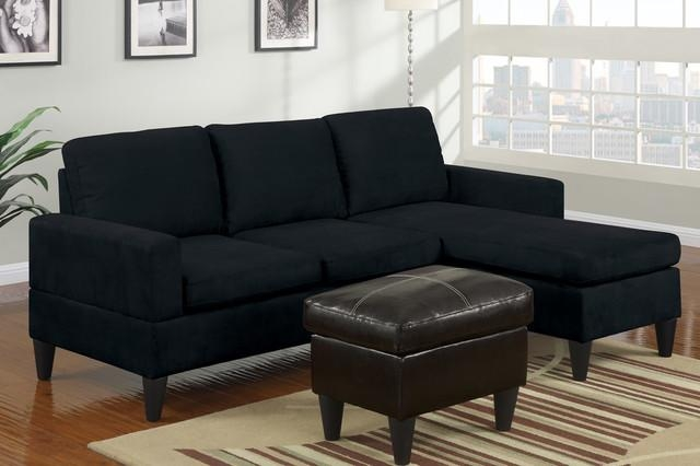 Modern Small Black Microfiber Sectional Sofa Reversible Chaise Ottoman For Small Black Sofas (Image 11 of 20)