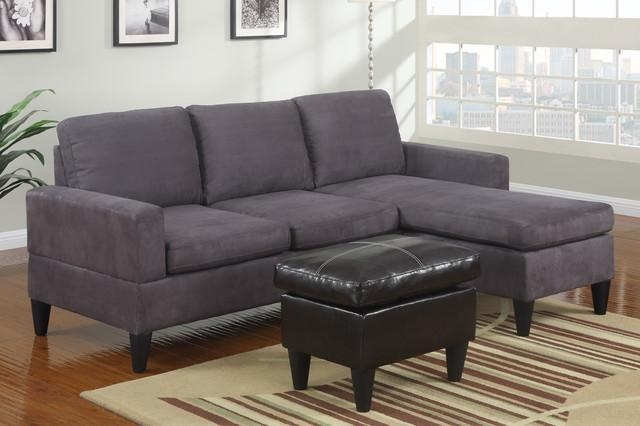 Modern Small Gray Microfiber Sectional Sofa Reversible Chaise Ottoman Regarding Modern Small Sectional Sofas (View 2 of 20)
