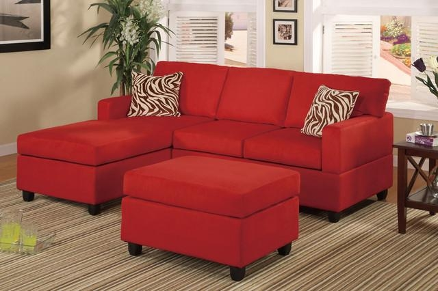 Modern Small Red Microfiber Sectional Sofa Reversible Chaise Ottoman Within Modern Small Sectional Sofas (Image 10 of 20)