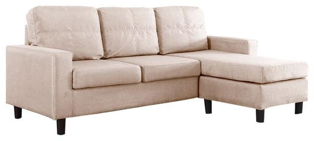 Modern Small Space Reversible Linen Fabric Sectional Sofa Regarding Modern Small Sectional Sofas (View 9 of 20)
