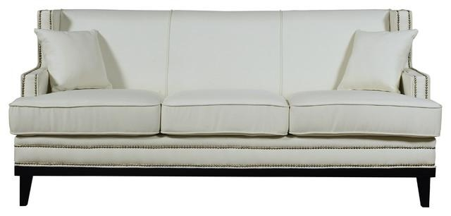 Modern Soft Linen Fabric Sofa With Nailhead Trim Details – Beige Intended For Beige Sofas (Image 17 of 20)