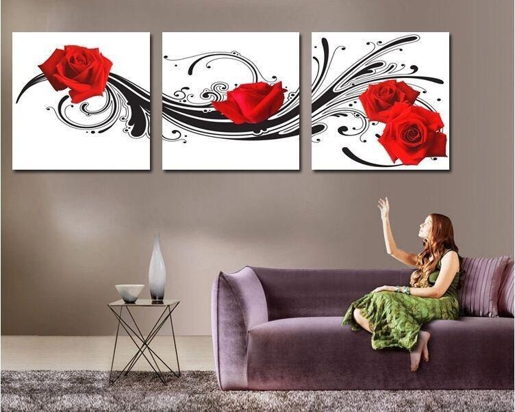 Modern Wall Art Decor Red Rose Flower Picture Printed Living Room Within 3 Piece Modern Wall Art (Image 14 of 20)