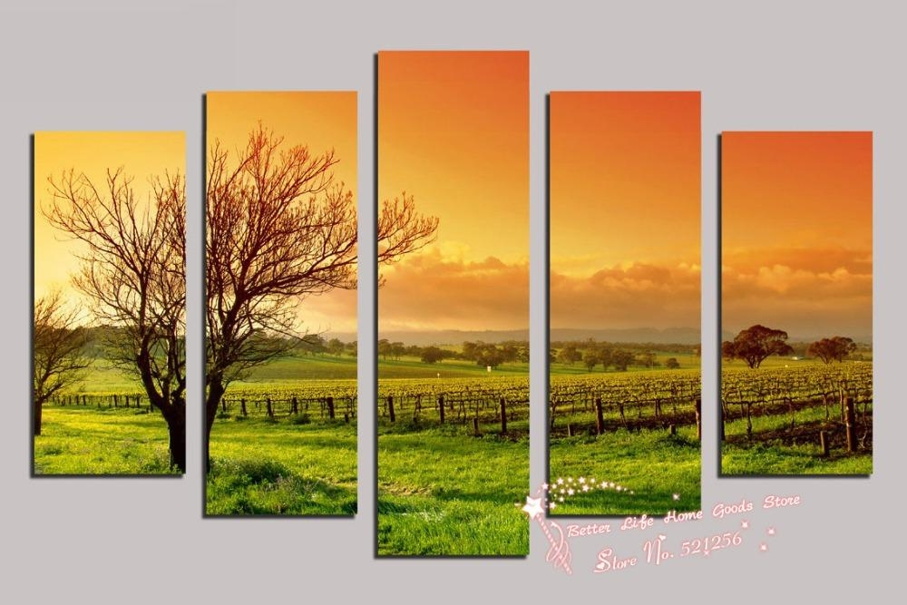 Modern Wall Art Home Decoration Printed Oil Painting Pictures 4 In Vineyard Wall Art (Image 8 of 20)