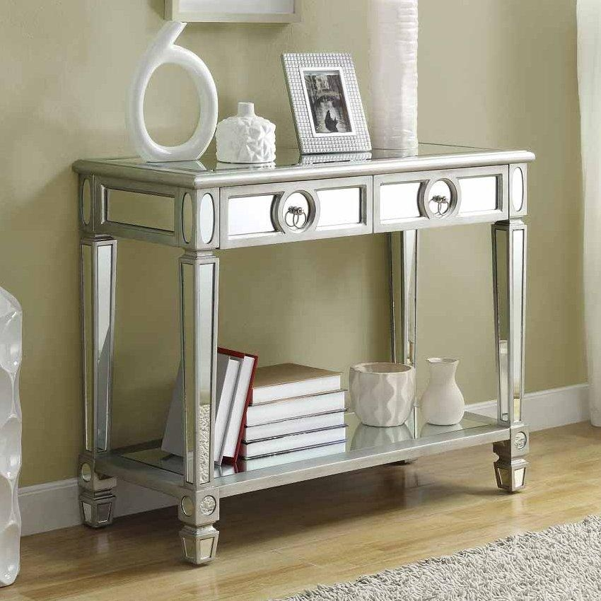 Monarch Specialties I 3700 Mirrored Console Table | Lowe's Canada With Lowes Sofa Tables (Image 11 of 20)
