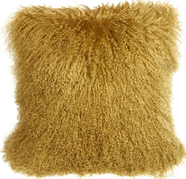 Mongolian Sheepskin Soft Gold 18X18 Throw Pillow – Pillow Decor Within Gold Sofa Pillows (Image 11 of 20)