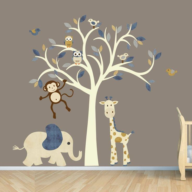 Monkey Wall Decal, Jungle Animal Tree Decal, Nursery Wall Decals In Etsy Childrens Wall Art (Image 20 of 20)