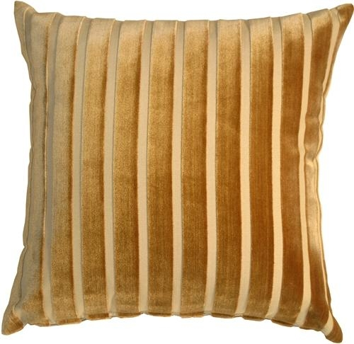 Monroe Velvet Stripes 22X22 Gold Throw Pillow From Pillow Decor Regarding Gold Sofa Pillows (Image 13 of 20)